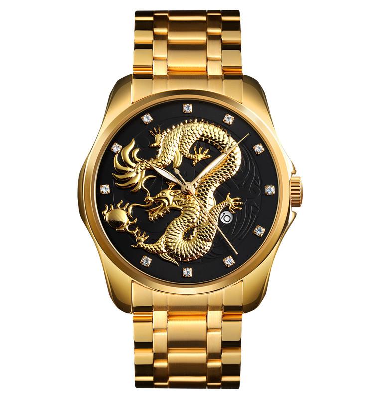 Skmei  9193 золотистые с черным мужские классические часы