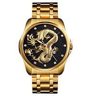 Skmei  9193 золотистые с черным мужские классические часы, фото 1