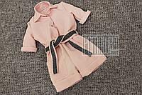 Детский р 98 1,5-2 года нарядный летний костюмчик комбинезон ромпер для девочки лето хлопок САТИН 6055 Розовый