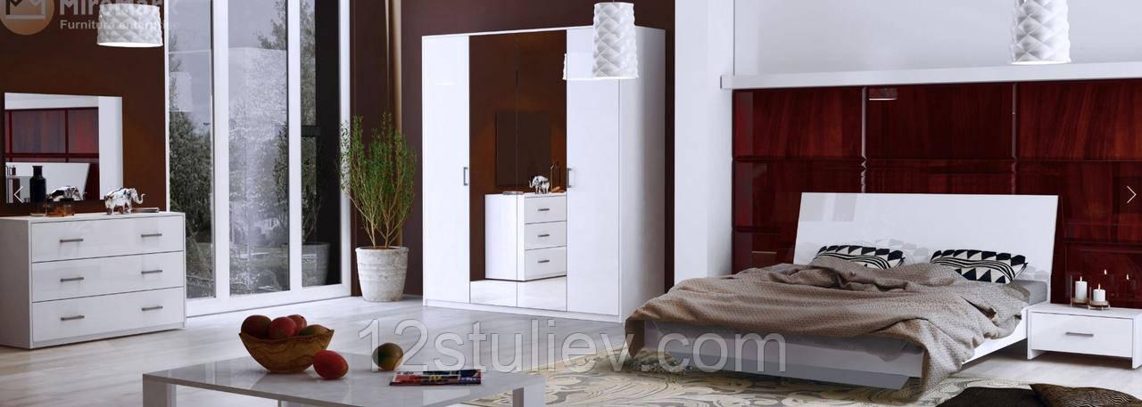 Спальний гарнітур Рома 4дв Білий глянець (Шкаф4дв;Ліжко 1,6;Тумба 1шх 2шт;Комод 3шх;Дзеркало)