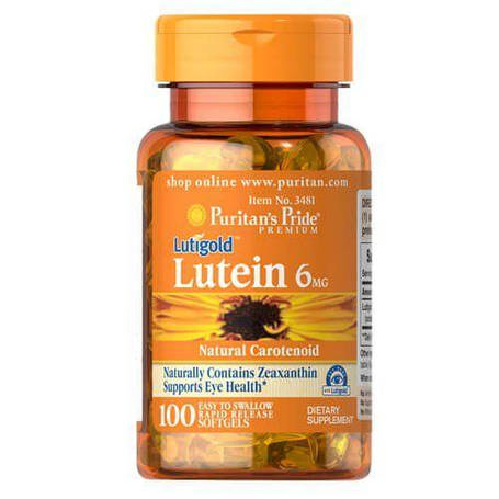 Для зрения Puritans Pride Lutein 6 mg with Zeaxanthin 100 Softgels, фото 2