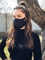 Маска для защиты лица трёхслойная (тканий матеріал, спанбонд, підкладка поліестер)