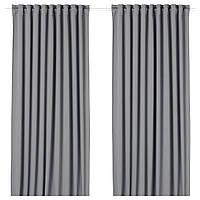 IKEA Гардины, блокирующие свет, 1 пара, серый, 145x300 см