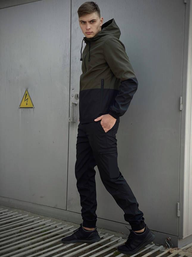 Мужской костюм хаки-черный демисезонный Intruder Softshell Light Куртка мужская хаки, штаны синие черные, фото 2