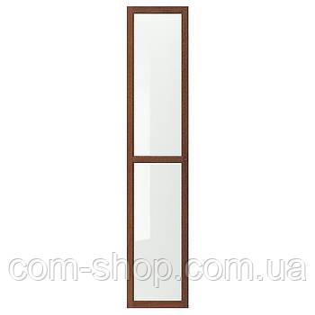 IKEA Стеклянная дверь, коричневый ясеневый шпон, 40x192 см