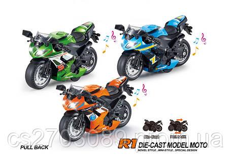Металлический мотоцикл 1:14  инерционный, фото 2