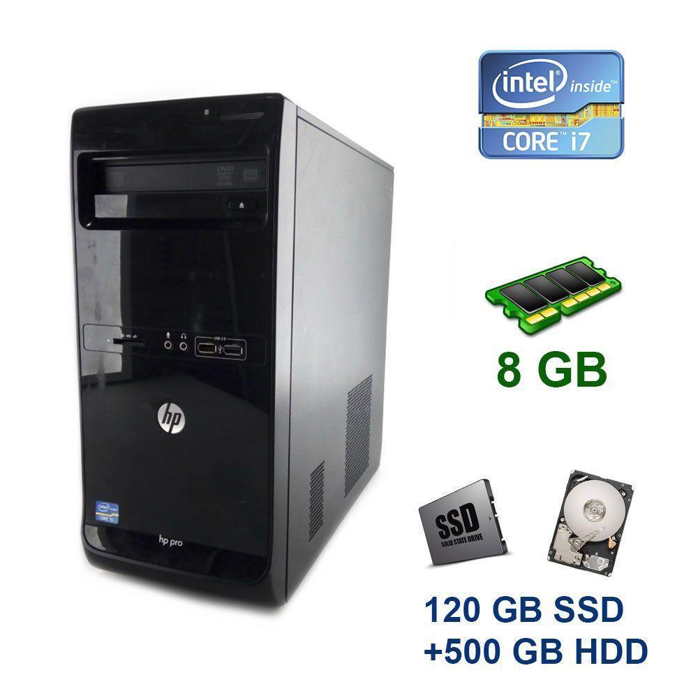 HP Pro 3500 Tower / Intel Core i7-3770 (4 (8) ядра по 3.4 - 3.9 GHz) / 8 GB DDR3 / 120 GB SSD+500 GB HDD / nVidia GeForce GTX 1650 StormX, 4 GB GDDR5,