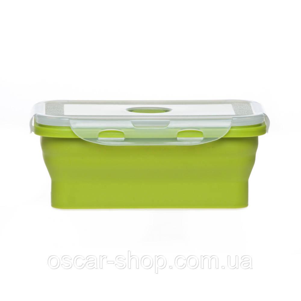 Ланчбокс силіконовий складаний (зелений) 800мл