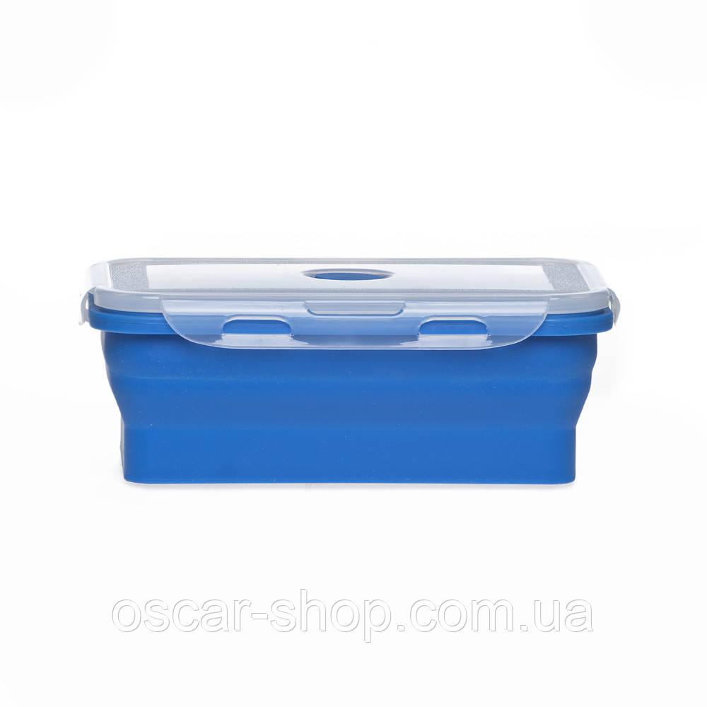 Ланчбокс силіконовий складаний (синій) 450 мл