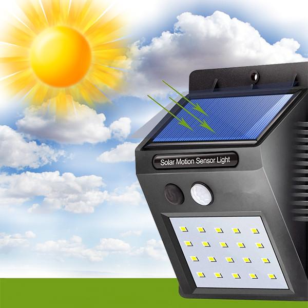 Настенный уличный светильник Solar motion SH09-20 (На солнечной батарее) Без датчика движения