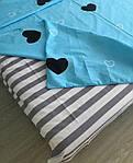 Евро комплект постельного белья с сердцами (бирюзовый), фото 2
