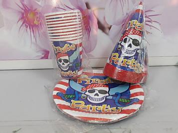 Набор посуды пиратский с рисунком череп пират