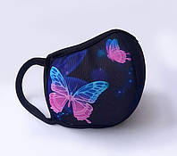 "Маска защитная для лица многоразовая тканевая Deko ""Бабочки"""