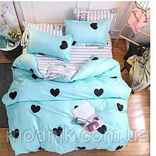 Двуспальное постельное белье с сердцами (бирюзовое)