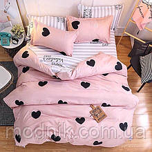 Двоспальне постільна білизна з серцями (рожеве)