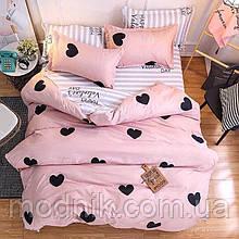 Евро комплект постельного белья с сердцами (розовый)