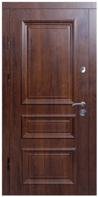 """Входные двери металлические, рис. """"Гранд"""" №3, Дуб медовый патина"""