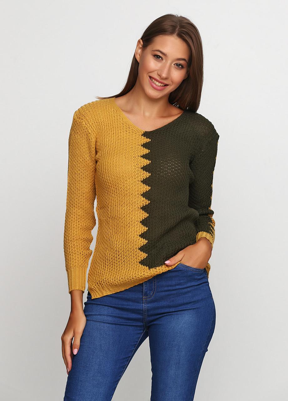 Горчичный свитер пуловер Massimo