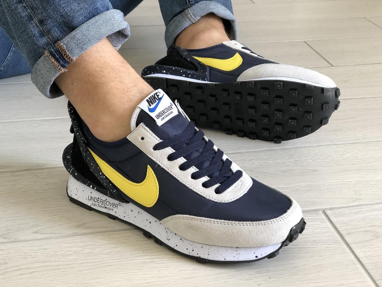 Мужские кроссовки Nike Undercover Jun Takahashi (темно-синие с желтым) 9226