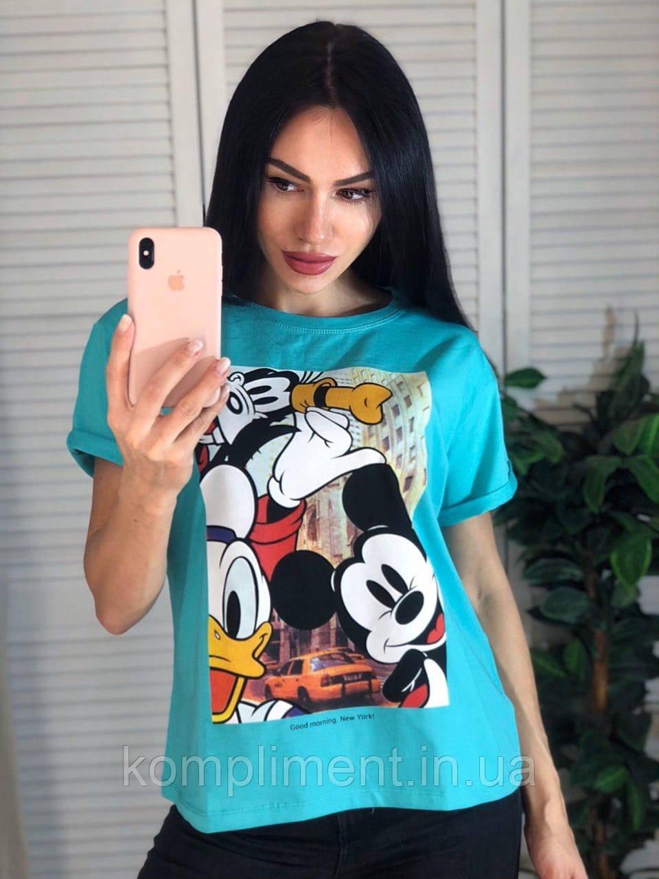 Яркая трикотажная женская летняя турецкая  футболка с рисунком, голубая