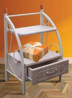 Тумба прикроватная металлическая с ящиком и полочками