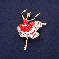 Брошка Балерина красива тематична прикраса на одяг 50*34 мм Mir-33278