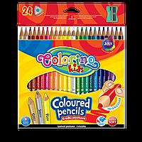 Карандаши цветные 24 цвета (золото, серебро, флюоресцентный желтый), Colorino