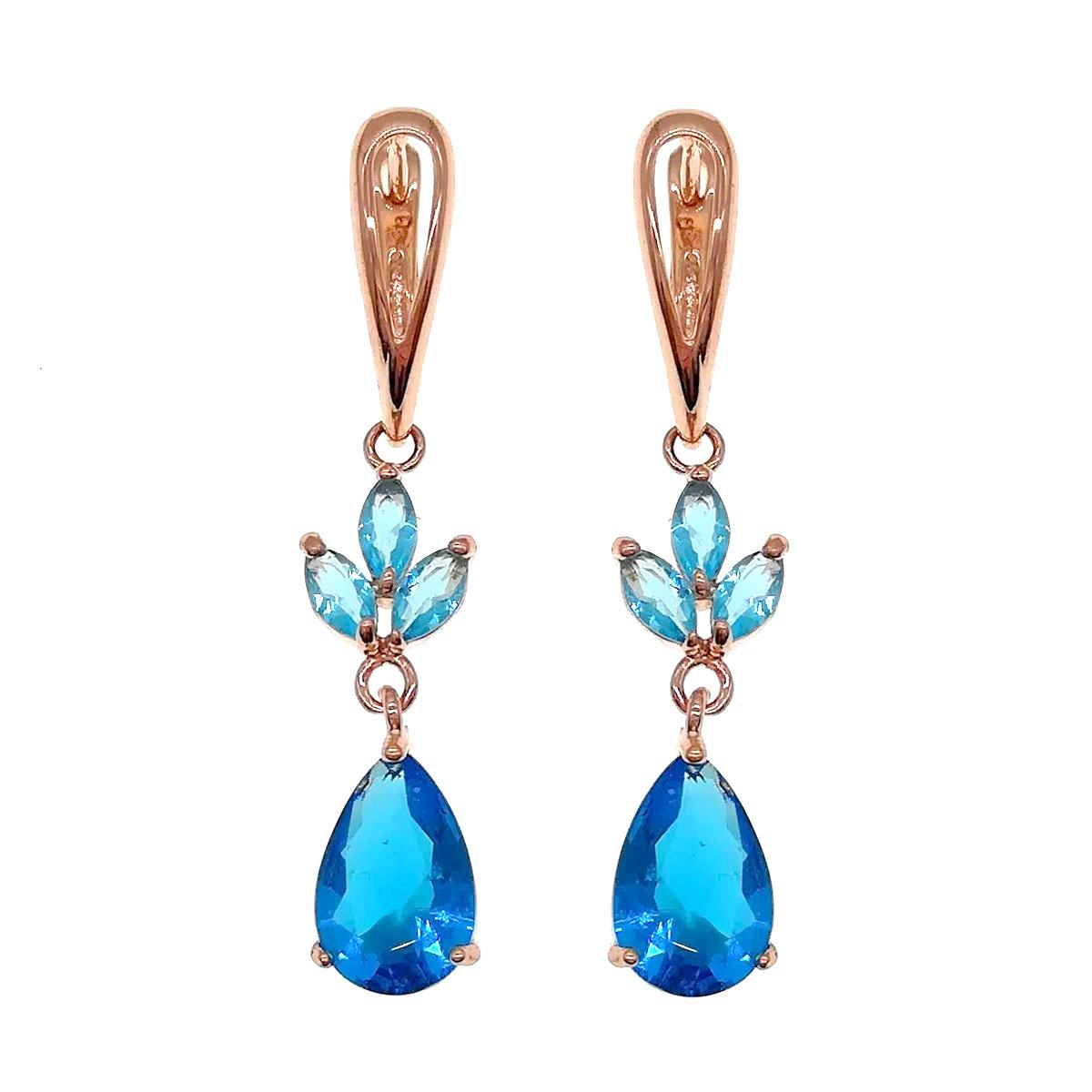 Серьги SONATA из медицинского золота, голубые фианиты, позолота PO, 22850       (1)