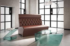 Прямий диван Sentenzo Лассо коричневий з високою спинкою кожзам