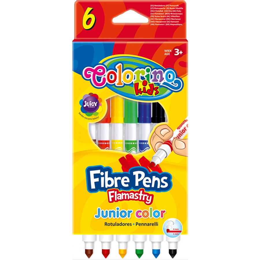 Фломастеры с разной толщиной линии, 6 цветов, Colorino