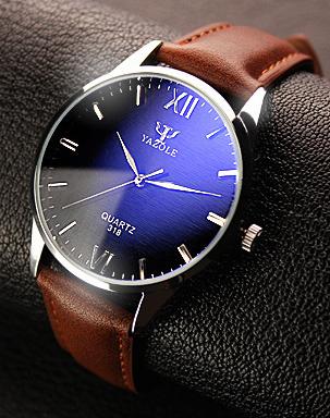 """Мужские классические наручные часы """"Yazole Classic"""" c коричневым ремешком"""