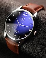 """Мужские классические наручные часы """"Yazole Classic"""" c коричневым ремешком, фото 1"""
