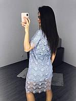 Модное летнее женское платье с кружевом , короткий рукав, размер 42-46 универсальный