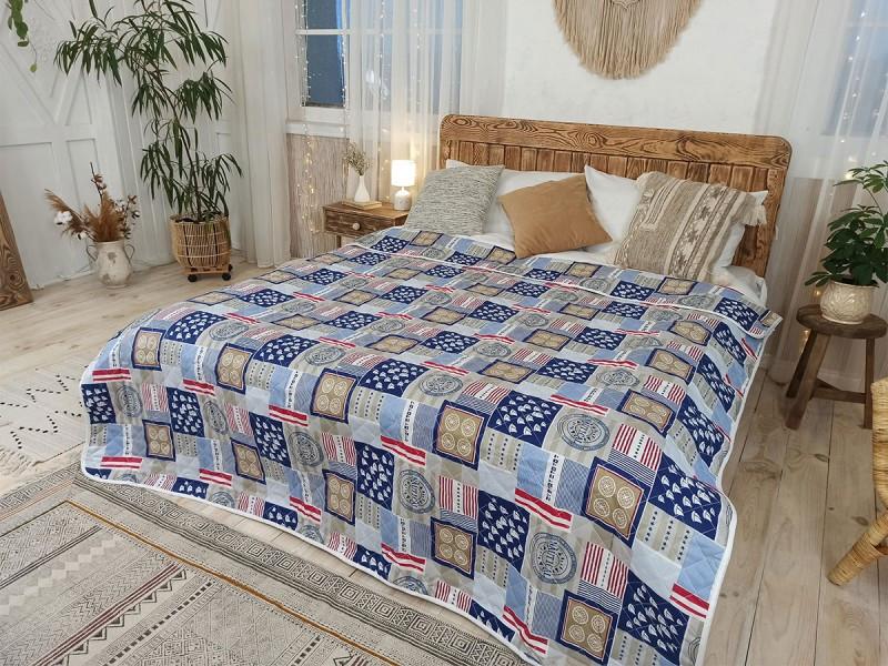 Одеяло-покрывало Leleka-textile Евро 200*220 см поликоттон/холлофайбер стеганое летнее П404