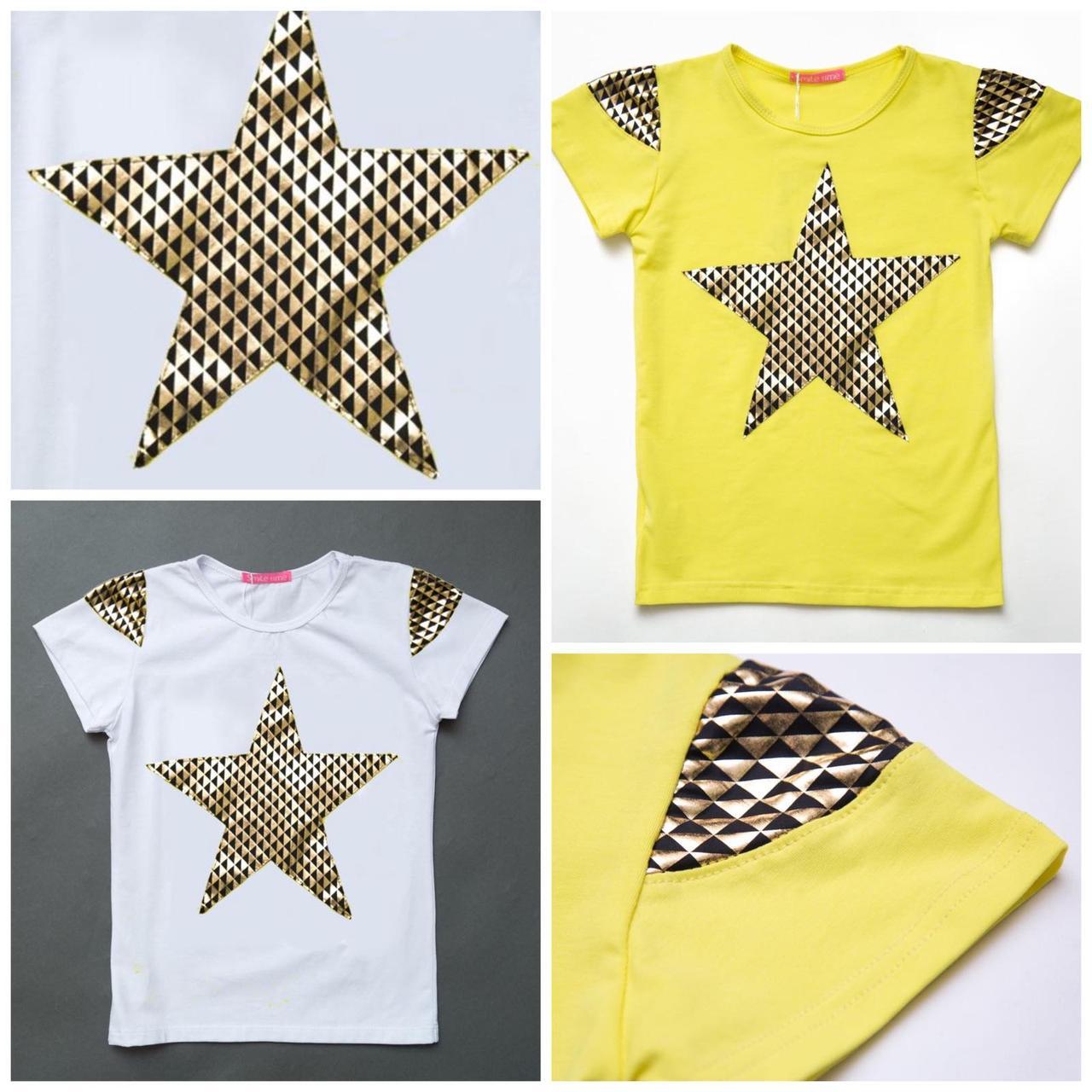 Летняя футболка для девочки Shining star, белая, желтая