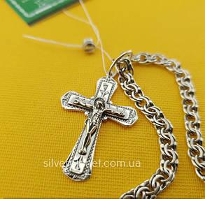 Освящённый Серебряный крестик с цепочкой из Чернёного серебра