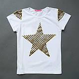 Летняя футболка для девочки Shining star, белая, желтая, фото 3