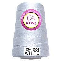 Нитки полиэстер KIWI 12S/4 белые 1000м (для зашивания мешков)