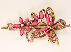 """Зажим боковой """"Цветочная веточка с бабочкой"""" р-р 11,5 х 7см; (5 цветов в ассортименте)"""