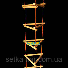 Сходи підвісна дитяча мотузкові сходи для шведської стінки дерев'яна «ЯЛИНКА. ЕЛІТ», золото