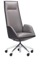 Кресло кожаное Доменик Темно-серый / Черный.