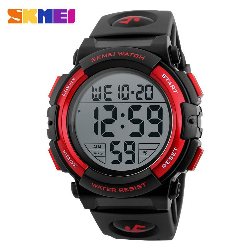 Skmei 1258 черные с красным мужские спортивные часы