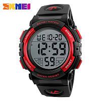 Skmei 1258 черные с красным мужские спортивные часы, фото 1