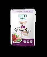 Консервированный корм для собак мини пород с Ягнятиной и шпинатом 85 г Optimeal