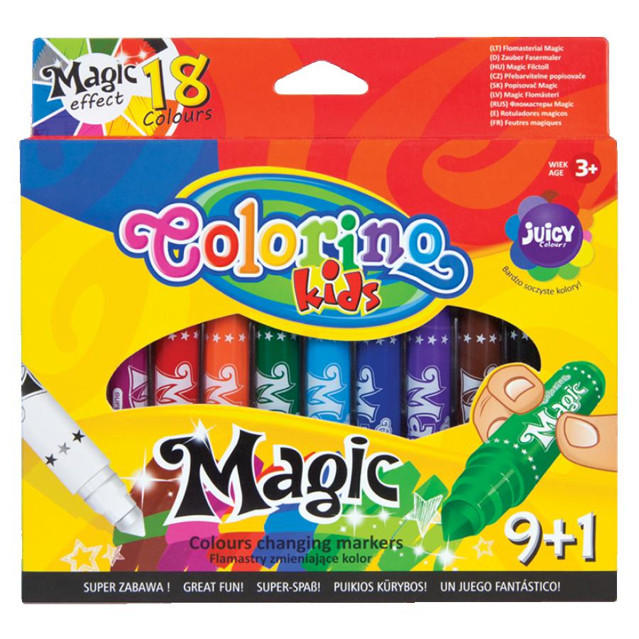 """Фломастеры """"Magic"""", меняют цвет, 9 штук+1, 18 цветов, Colorino"""