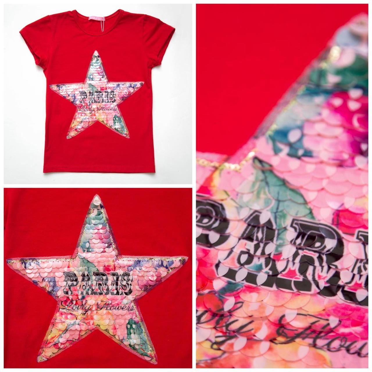 Футболка детская для девочки Flower star красного цвета