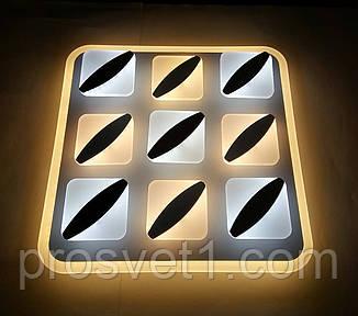 Светодиодная люстра квадратная на пульте 6006-1 WT+GRY 180W