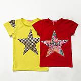 Футболка детская для девочки Flower star красного цвета, фото 2