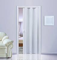 Дверь гармошка Ясень глухая,  складная, двери  раздвижные межкомнатные ПВХ, скрытые двери пластиковые Folding