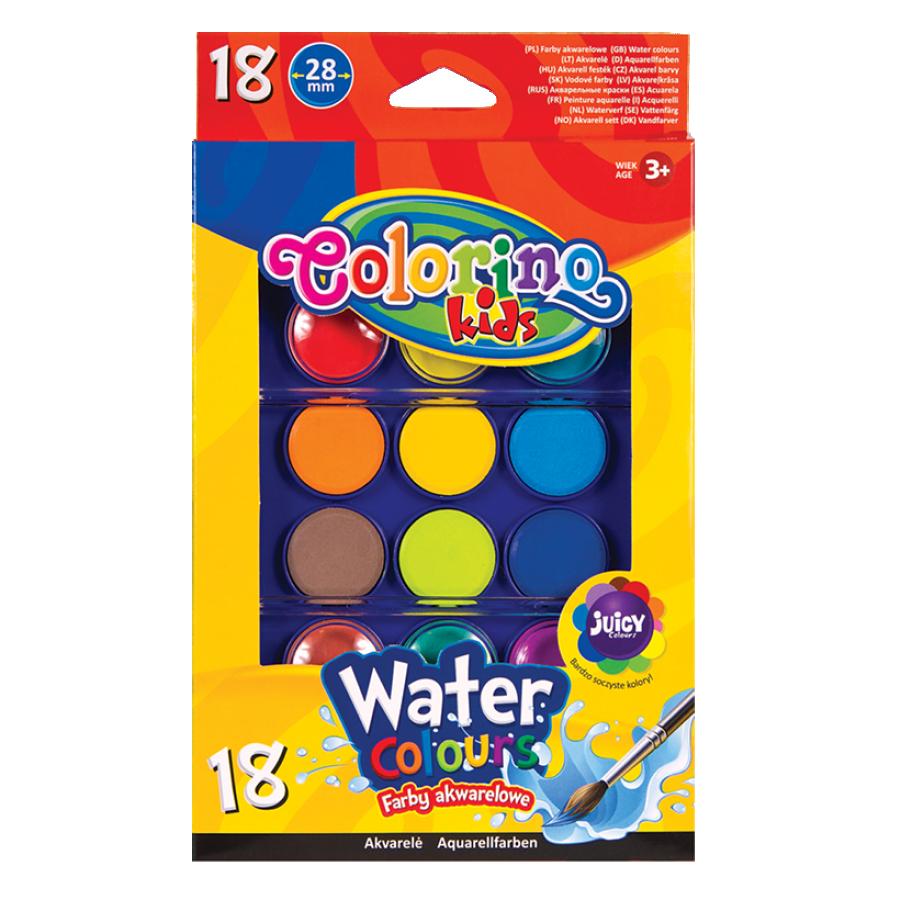 Краски акварельные с 2 кисточками, 18 цветов, Colorino